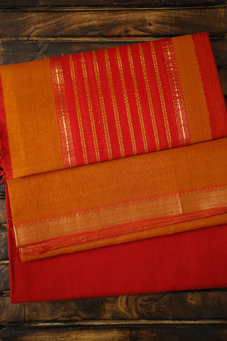 Double Shade Yellow with Maroon Stripes Mangalagiri Full Suit