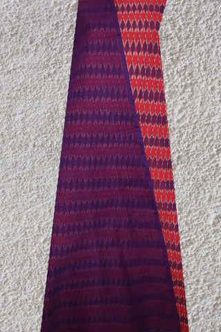 Purple with Peach Handwoven Ikat Cotton Full Suit
