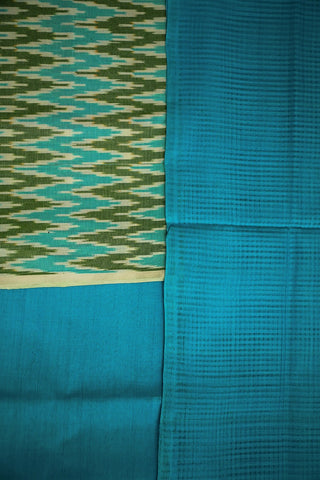 Blue with Green Zig Zag Ikat Full Suit