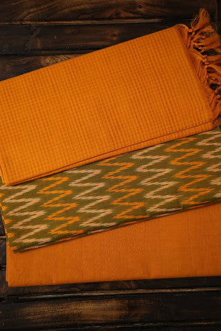 Double Shade Yellowish Green with Zig Zag Ikat Full Suit