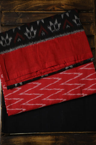 Red with White Zig Zag Handwoven Ikat Cotton Full Suit