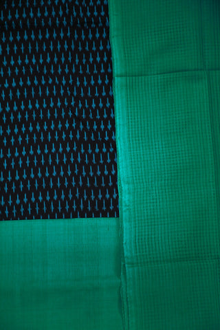 Black with Blueish Green Ikat Cotton Full Suit