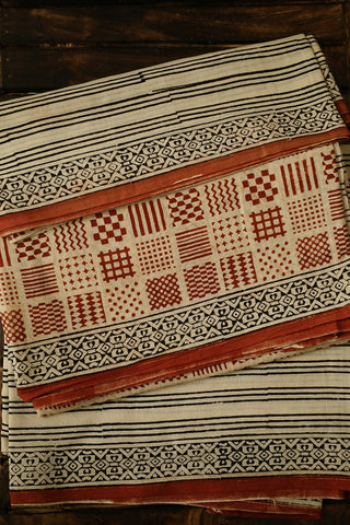 Rust Red Small Designs Mul Cotton Full Suit