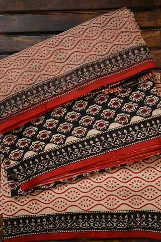 Black Bagru Printed Cotton Full Suit with Kota Doria Dupatta