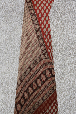 Maroon Bagru Printed Cotton Full Suit with Kota Doria Dupatta