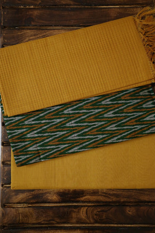 Dark Green with Yellow and Grey Zig Zag Ikat Full Suit