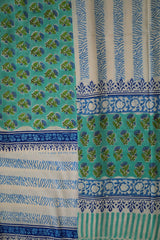 Green with Blue Floral Sanganeri Cotton Full Suit
