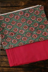 Pink Floral Sanganeri Top with Plain Handwoven Bottom