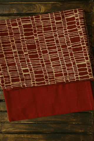 Maroon with Beige Ajrak Top with Natural Dyed Bottom
