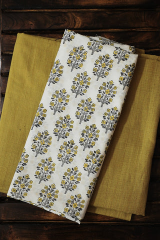White with Yellow Sanganeri Top with Natural Dyed Bottom