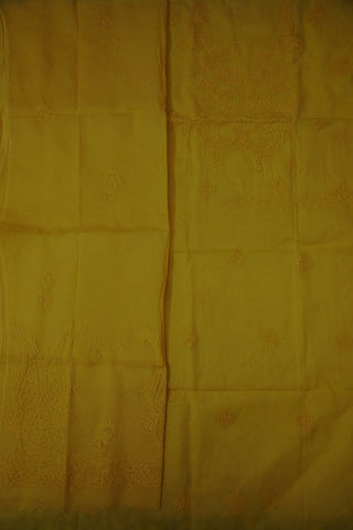 Mango Yellow Hand Embroidered Chikan Work Top and Dupatta
