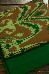 Shades of Green and Brown Indonesian Ikat Top with Mangalagiri Bottom