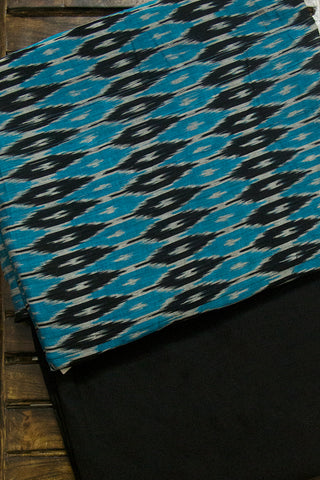 Black with Blue Diamond Mercerized Ikat Top with Yarn Dyed Bottom
