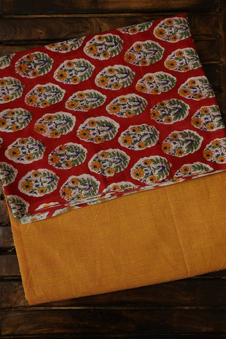 Red with Yellow Floral Sanganeri Top with Yarn Dyed Bottom
