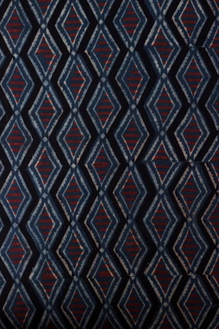 Indigo Diamonds with Maroon Lines Block Printed Ajrak fabric