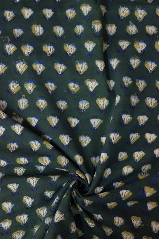 Green with Blue Block Printed Cotton Fabric