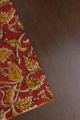 Brick Red with Fenugreek Leaves Printed Kalamkari Fabric