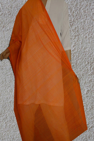 Yellow and Orange Missing checks Handwoven Cotton Dupatta