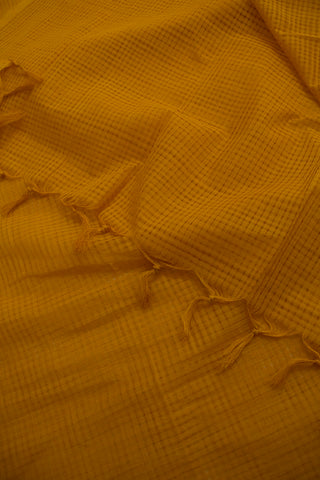 Fenugreek Yellow Missing Checks Handwoven Cotton Dupatta