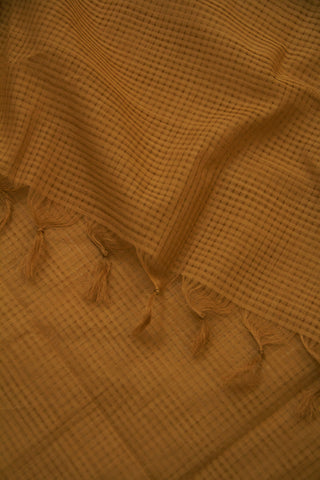 Beige Missing Checks Handwoven Cotton Dupatta