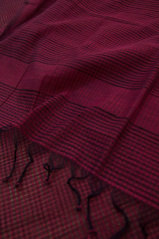 Pinkish Black Small Missing Checks Handwoven Cotton Dupatta