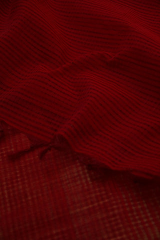 Dark Maroon Missing Checks Handwoven Cotton Dupatta