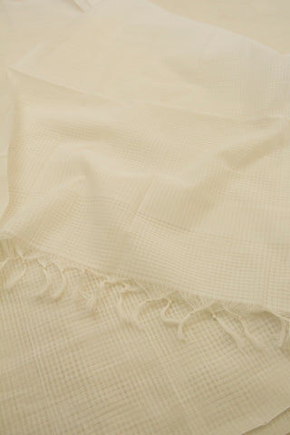 White Missing Checks Handwoven Cotton Dupatta