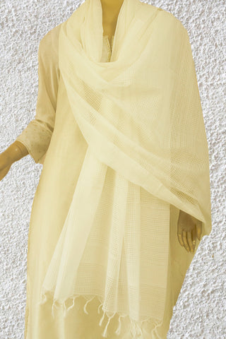 Off White Missing checks Handwoven Cotton Dupatta