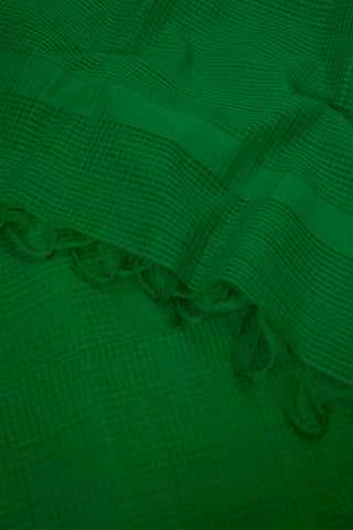 Green Small Missing Checks Handwoven Cotton Dupatta