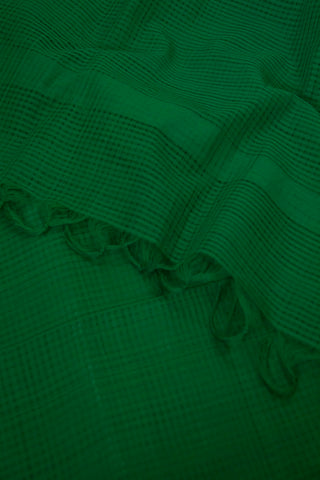 Moss Green Missing Checks Handwoven Cotton Dupatta
