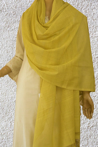 Pale Yellow Missing Checks Handwoven Cotton Dupatta