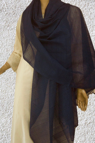 Dark Navy Blue Missing Checks Handwoven Cotton Dupatta