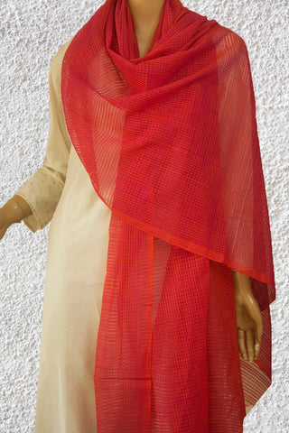 Orangish Purple Missing Checks Handwoven Cotton Dupatta