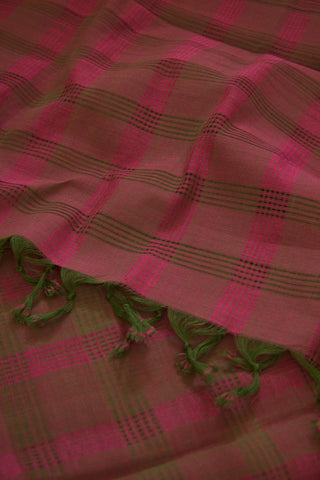 Pink with Dark Green Missing Weaves Handwoven Cotton Dupatta