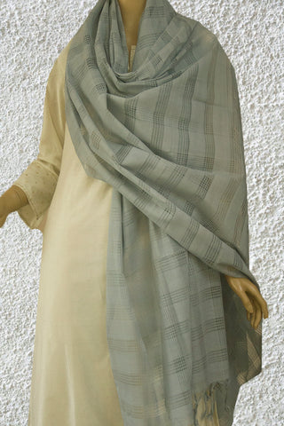 Cement Grey Missing Weaves Handwoven Cotton Dupatta