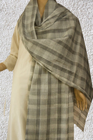 Off White with Grey Missing Weaves Handwoven Cotton Dupatta