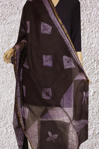 Black with Purple Squares Shibori Kota Silk Dupatta