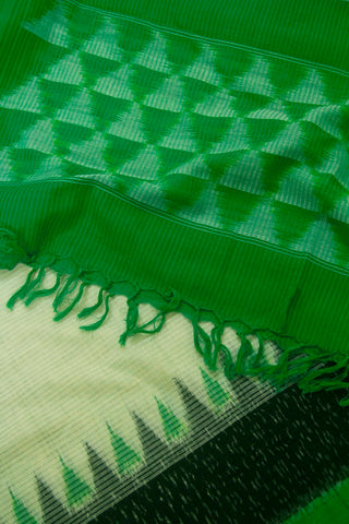 Off White with Green Missing Weave Handwoven Ikat Dupatta with Tassels