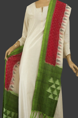 Maroon with Off White Missing Weave Handwoven Ikat Dupatta with Tassles