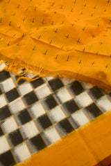 Yellow with Black and White Checks Handwoven Ikat Dupatta