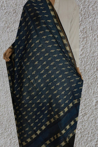 Indigo with Beige Chanderi Block Printed Dupatta