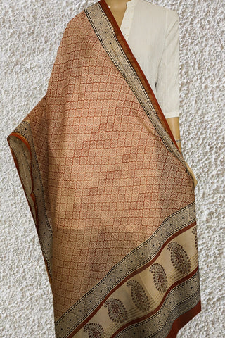 Rust Red with Beige Hand Block Printed Chanderi Dupatta