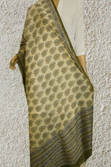Beige with Green and Blue Hand Block Printed Chanderi Dupatta