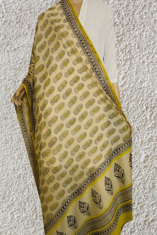 Beige with Yellow Paisley Hand Block Printed Chanderi Dupatta