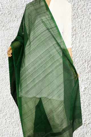 Dark Green Missing checks Handwoven Cotton Dupatta