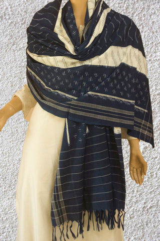 Indigo Blue with Off White Handwoven Ikat Dupatta