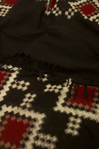 Dark Brown/Black Telia Rumal Handwoven Ikat Dupatta