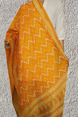 Yellow Hand Block Printed Chanderi Dupatta