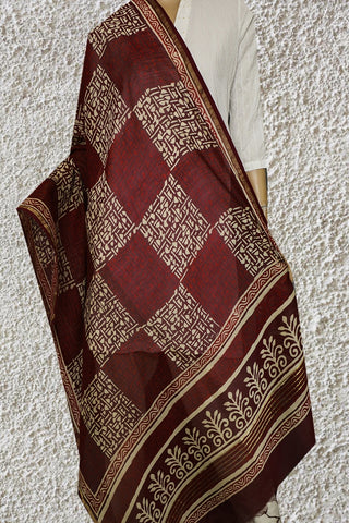 Maroon with Boxes Hand Block Printed Chanderi Dupatta