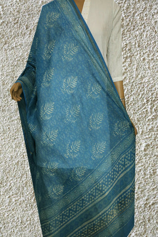Blue with Floral Hand Block Printed Chanderi Dupatta